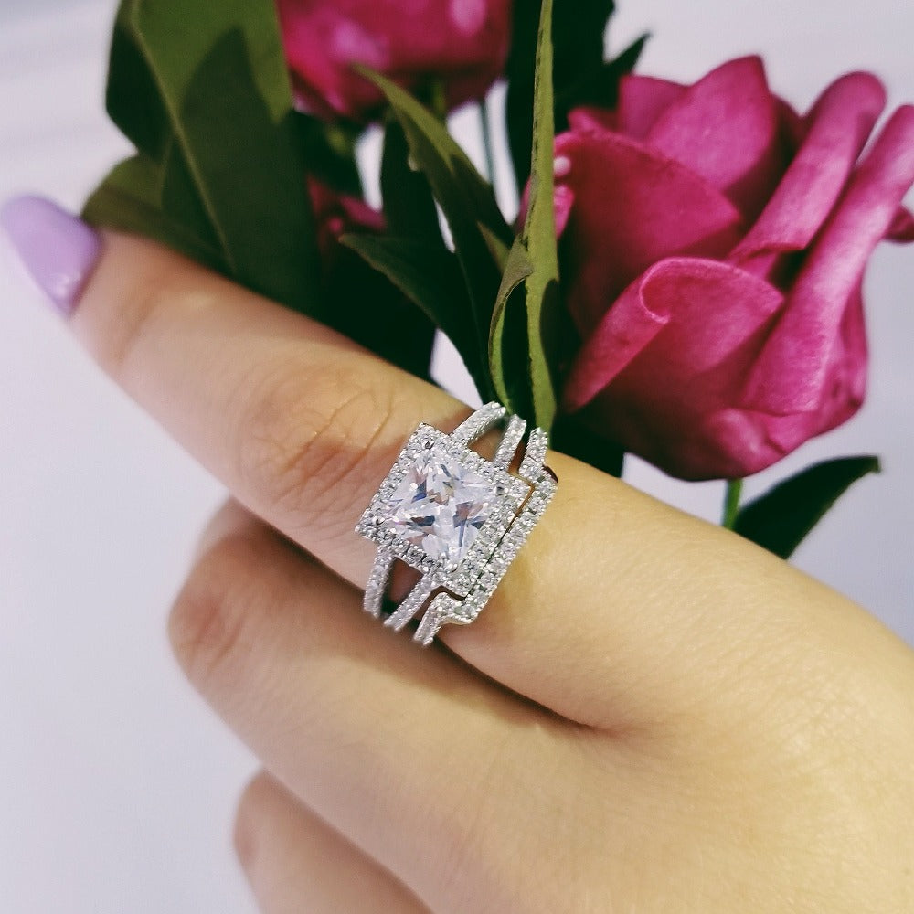 925 Sterling Silver Rings Princess Cut for Women Luxury Wedding Ring Set for bridal women jewelry moonso R1952SBuy mate