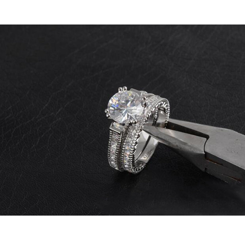 925 Sterling Silver Ring set Finger AAA CZ Wedding Set Engagement Band Classic Jewelry for Women Wholesale R3402S