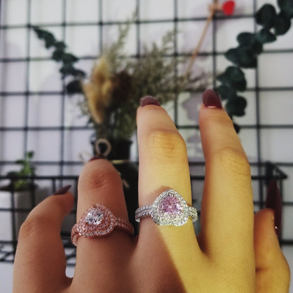 real 925 Sterling Silver Ring Finger heart shape promise fashion Ring for girl love Women Jewelry Wedding Engagement R4599S