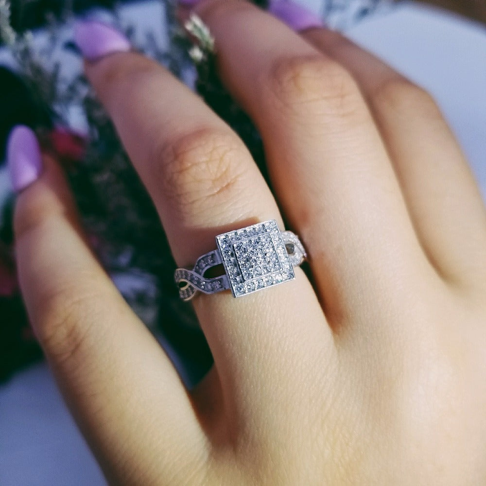 original Design 925 sterling silver fashion luxury wedding ring engagement finger ring wholesale jewelry R4612S