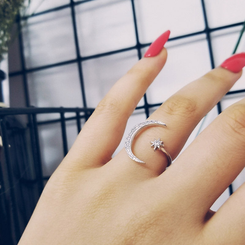 fashion 925 Sterling Silver Ring Finger moon star CZ Ring for Women Jewelry Pure Wedding Engagement R4596S