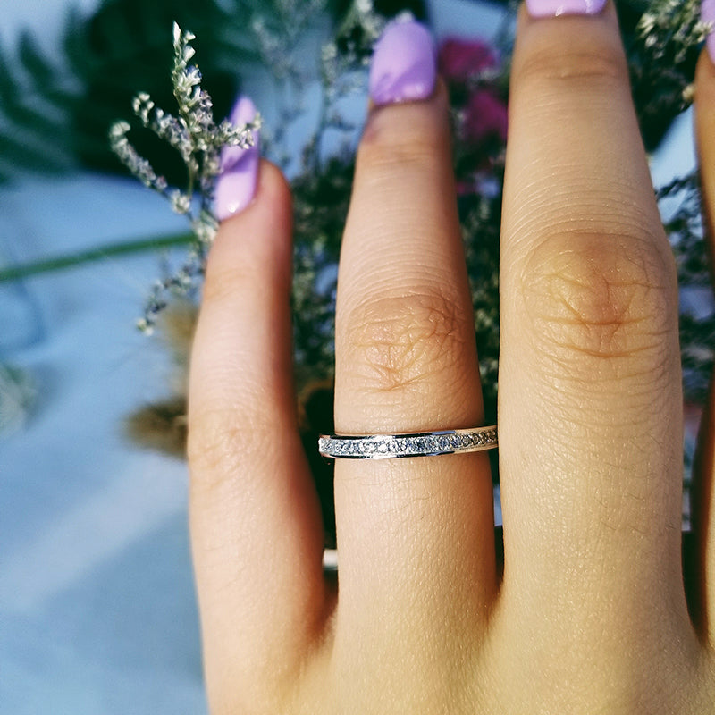 925 Sterling Silver band Ring eternity ring Finger for Women Jewelry Pure Wedding Engagement wholescale R1944AS