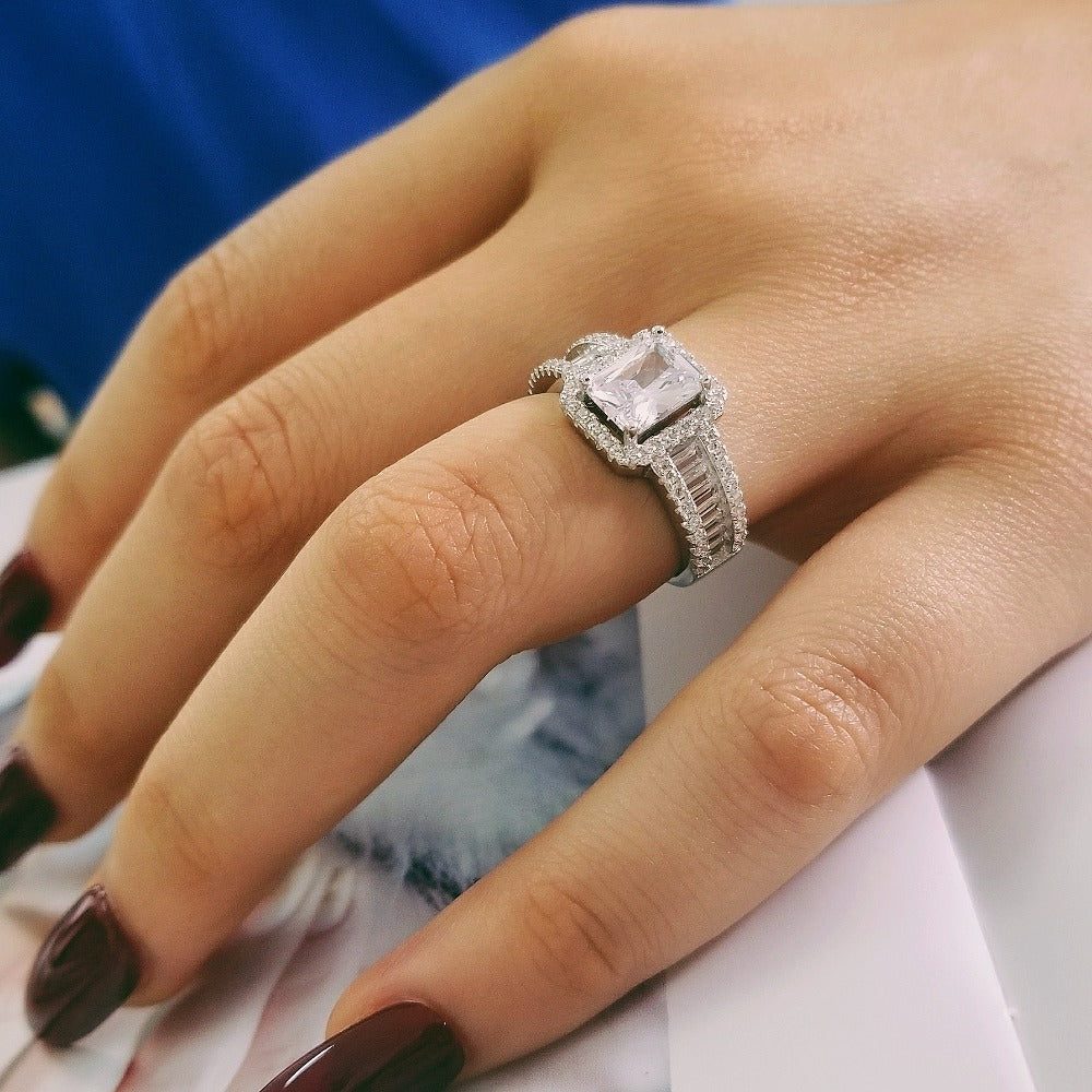 original solid real fashion latest design sterling silver AAA zirconia women jewelry engagement ring R4607SBuy mate