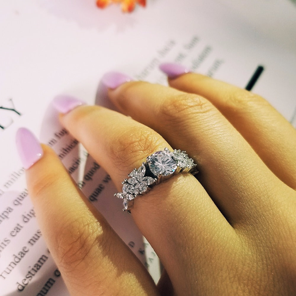 Solid Real new 2018 fashion 925 sterling silver wedding engagement ring for women girl love Luxury rings jewelry R4321S