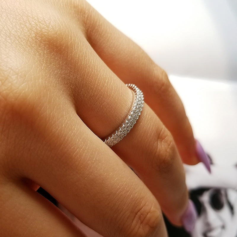 925 Sterling Silver wedding band eternity Ring Engagement cubic zirconia finger for fashion Women R4414SBuy mate