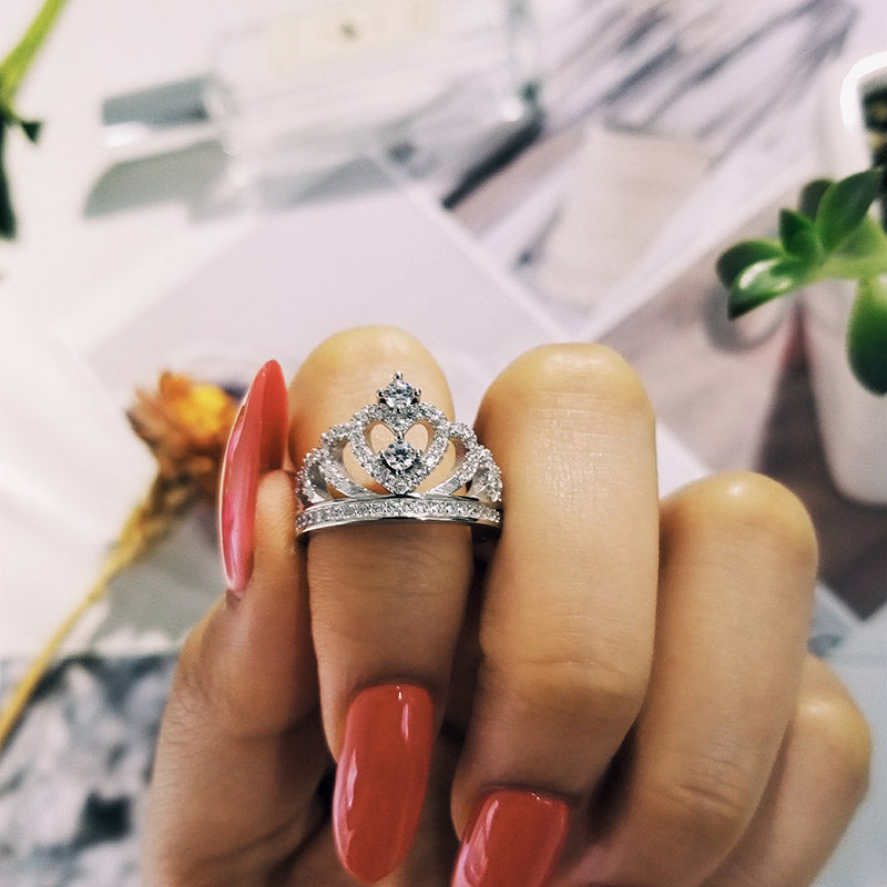 925 Sterling Silver Ring Finger crown princess Ring for Women Jewelry Pure Wedding Engagement R4595SBuy mate