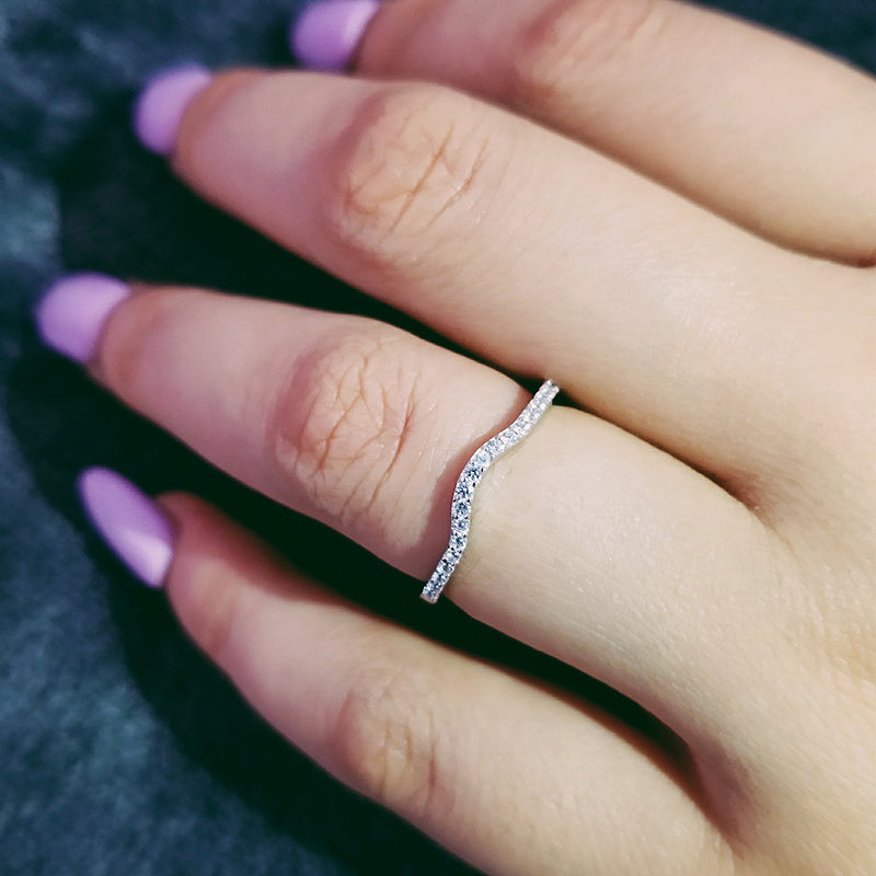 925 Sterling Silver band eternity Rings For Women Ring Wedding Engagement Jewelry finger pinky Women R235AS