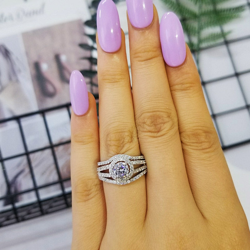 925 Sterling Silver rings set pair band 3 pieces Ring sets for women Genuine wedding engagement anillos anel aneis R235CSBuy mate