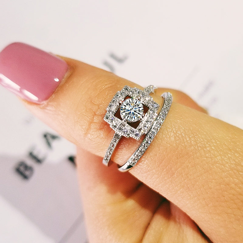 2019 new luxury halo original 925 sterling silver wedding ring set for women lady anniversary gift jewelry wholesale R5165S