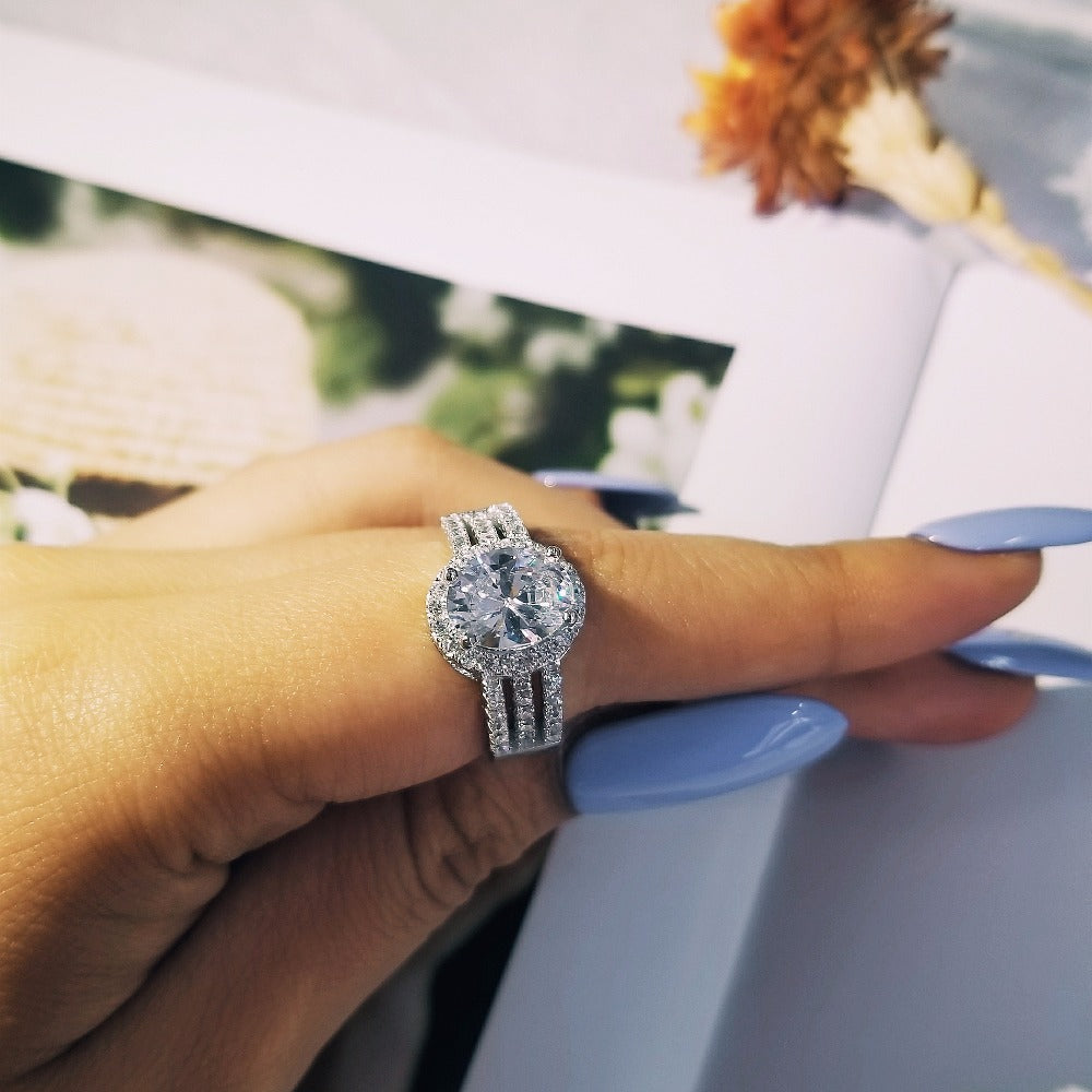 solid New desgin oval shape Wedding Engagement Luxury Ring Three Rows AAA Zircons rings for Women finger Jewelry R4423S