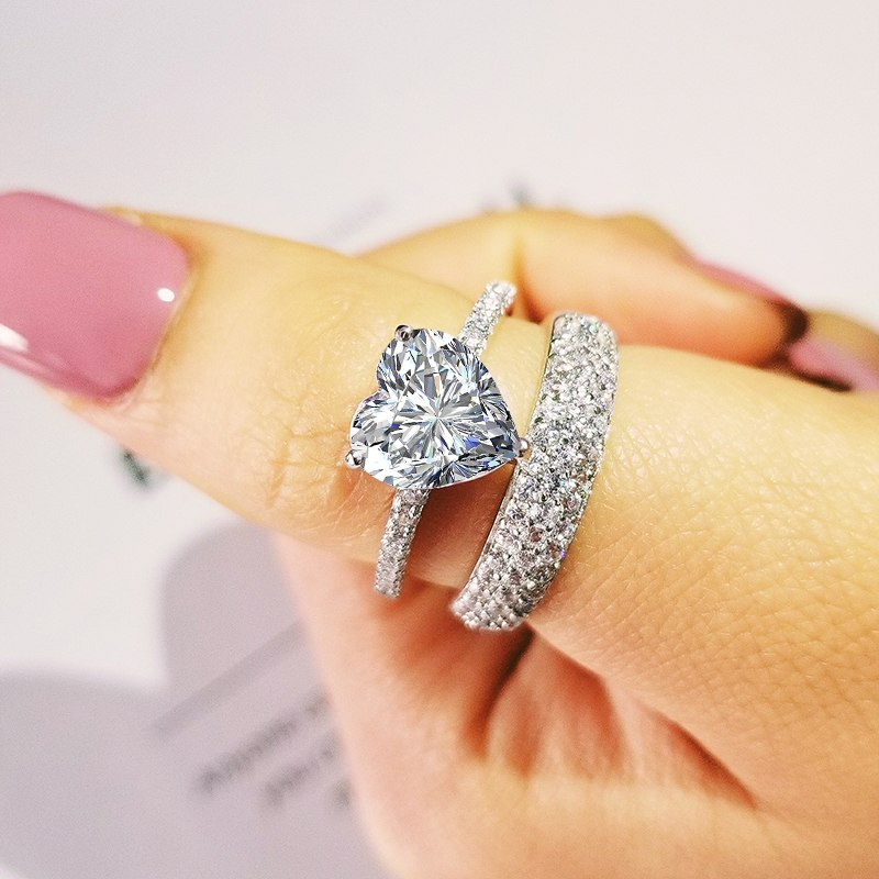 best selling luxury heart original 925 sterling silver wedding ring set for women lady anniversary gift jewelry wholesale R5161SBuy mate