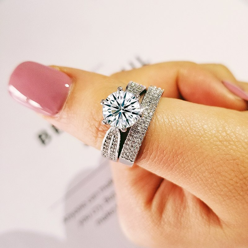 2019 new luxury halo 925 sterling silver wedding ring set for women lady anniversary gift jewelry wholesale R5141SBuy mate
