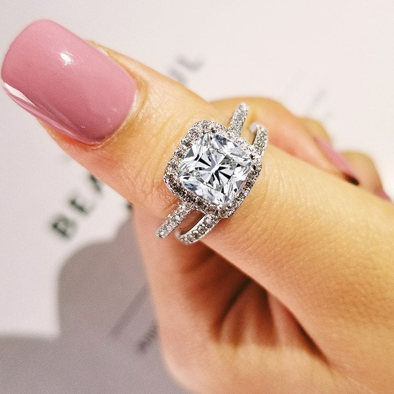 2019 new luxury cushion 925 sterling silver wedding ring set for women lady anniversary gift jewelry wholesale R5126S