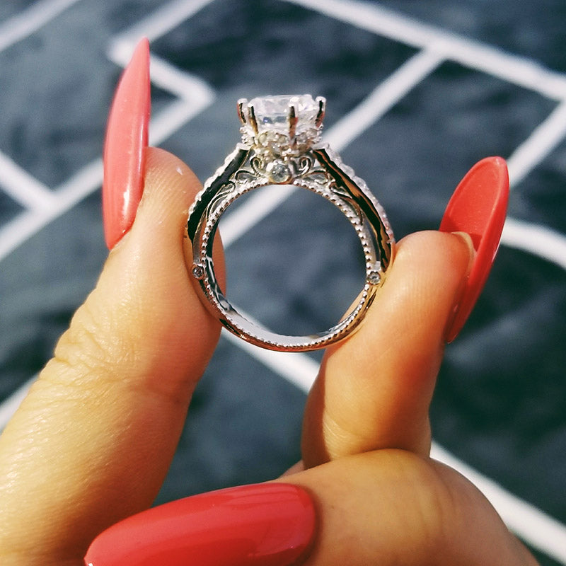 925 Sterling Silver Ring Finger fashion promise solitaire Ring for Women Jewelry Engagement R4609S