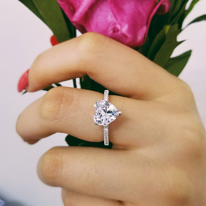 real 925 Sterling Silver Ring Finger heart shape promise fashion Ring for girl love Women Jewelry Wedding Engagement R4597SBuy mate