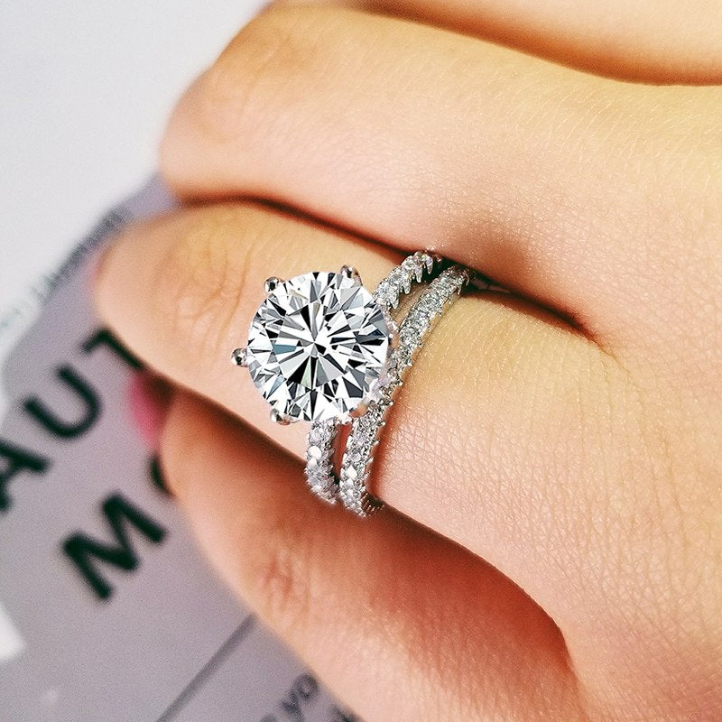 2019 new luxury halo original 925 sterling silver wedding ring set for women lady anniversary gift jewelry bulk sell R5155S