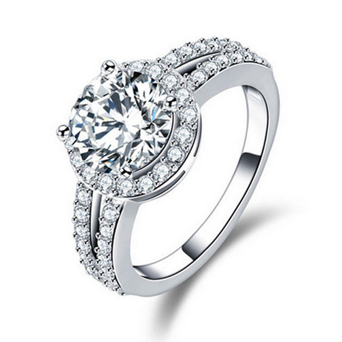 925 Sterling Silver Halo CZ Diamond Engagement Rings for Women