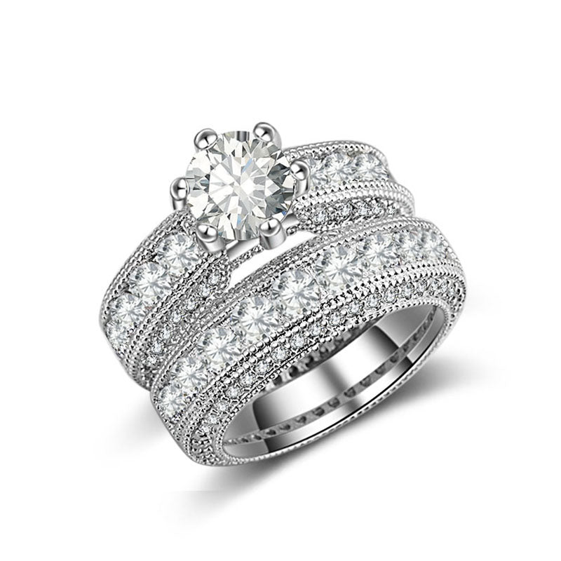 R4428S -  TWLLE Jewelry-- Affordable Sterling Silver Engagament & Wedding Ring - Affordable Sterling Silver Wedding Engagement Ring in Nigeria