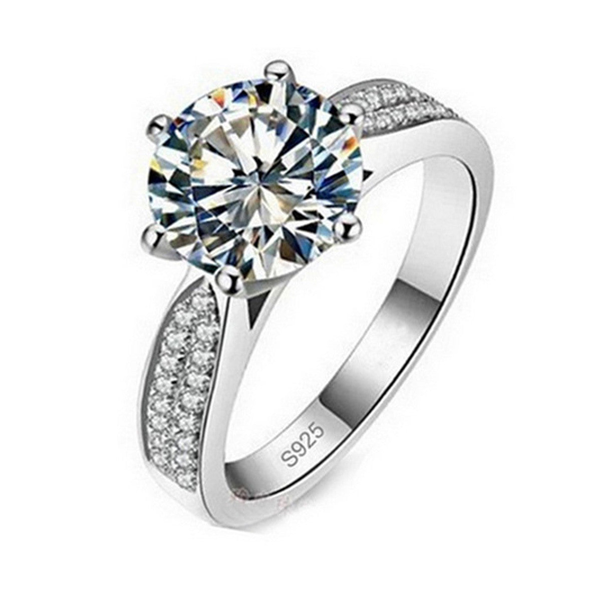 925 Sterling Silver 6 Carat Halo CZ Diamond Engagement Rings for