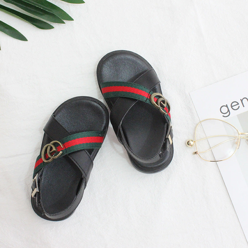 2018 Korean children's new ribbon sandals in summer boys and girls anti-skid sports show-toed baby sandals tideBuy mate