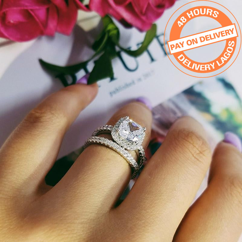 925 sterling silver wedding engagement rings set for women finger band  R1090SBuy mate