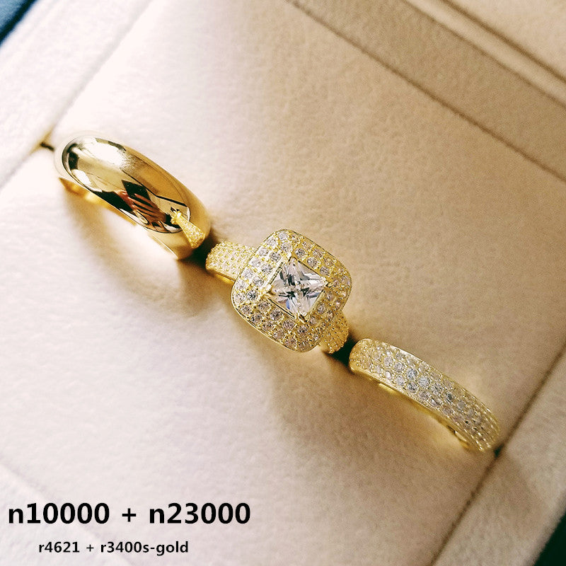 REAL 925 STERLING SILVER 3PCS IN 1 COUPLE WEDDING RING SET FOR BRIDAL WOMEN AND MEN FINGER GIFT AFRICA FASHION JEWELRY R4621+ r3400s-goldBuy mate