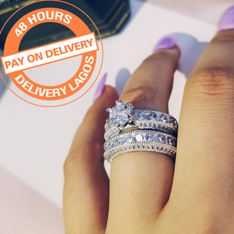 925 Sterling Silver bold Rings set bridal Women Engagement Wedding luxury For finger Jewelry r4428SBuy mate