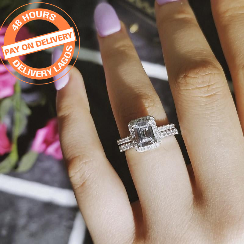 2018 New Genuine 925 pure Sterling Silver Cut rings Sets for women Wedding Ring Sets R4212SBuy mate