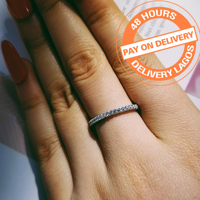 Original real fashion Silver eternity Band Ring Wedding R1090AS