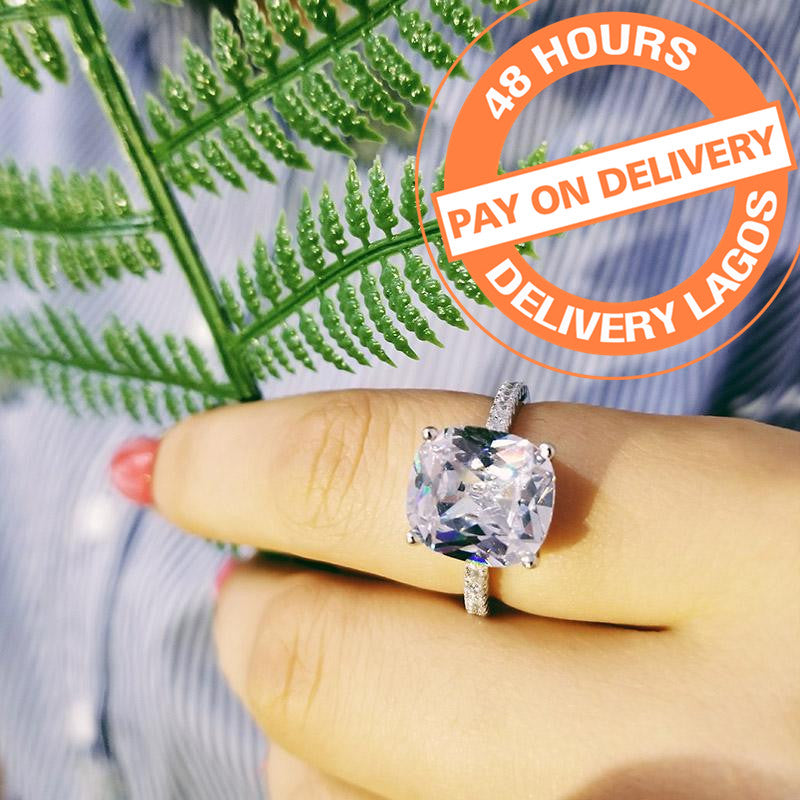 Fashion Cushion Cut Silver Color Ring Finger and CZ Stone for Women Jewelry Engagement Ring R1953SBuy mate