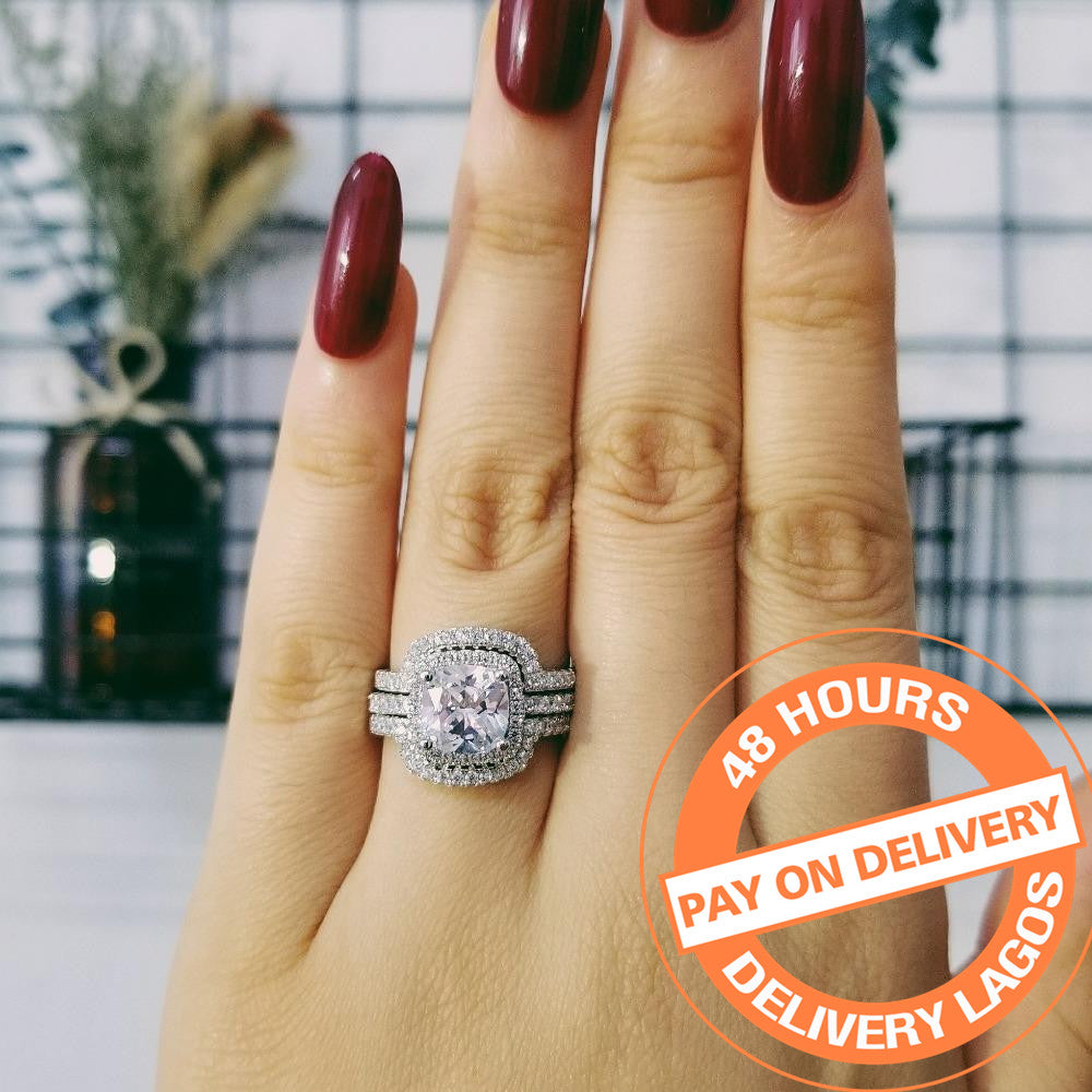 2018 new design Luxury 3 pcs 925 sterling Silver Ring cushion cut Engagement Wedding Ring for Women R4308SBuy mate