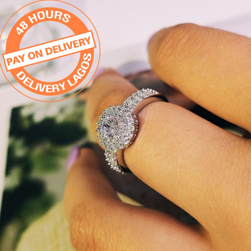 fashion 925 Sterling Silver Women Wedding Engagement Rings For halo finger ring Jewelry R783SBuy mate