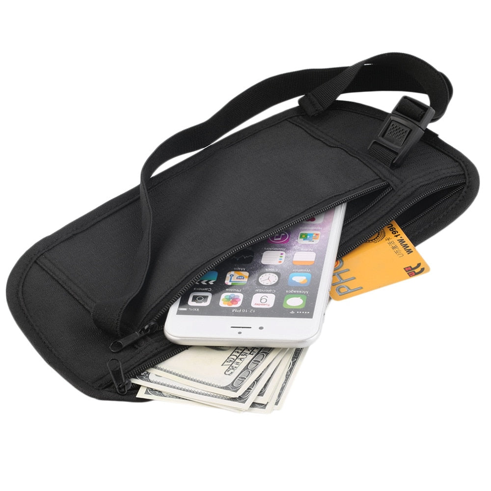 Travel Pouch Hidden Zippered Waist Compact Security Money
