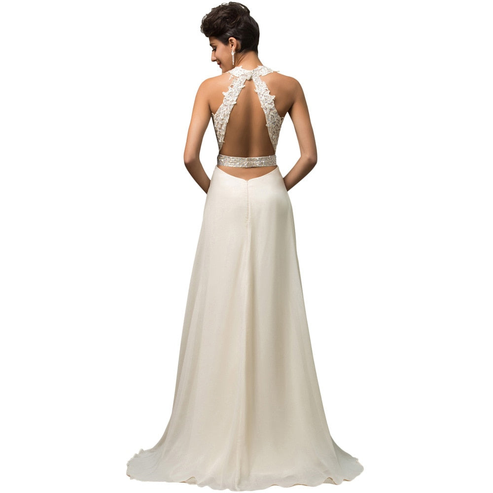 Princess Style Halter Backless Imported Fishtail  Split  Wedding Dress