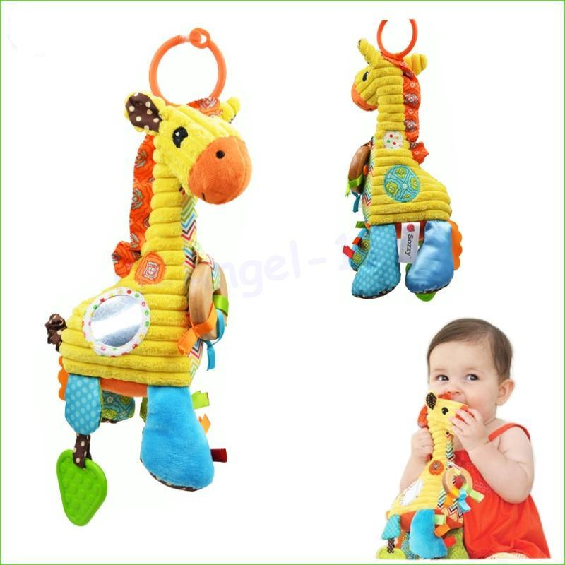 Lovely Cartoon Giraffe Pattern Baby Toys Musical Rattle Ring Bell