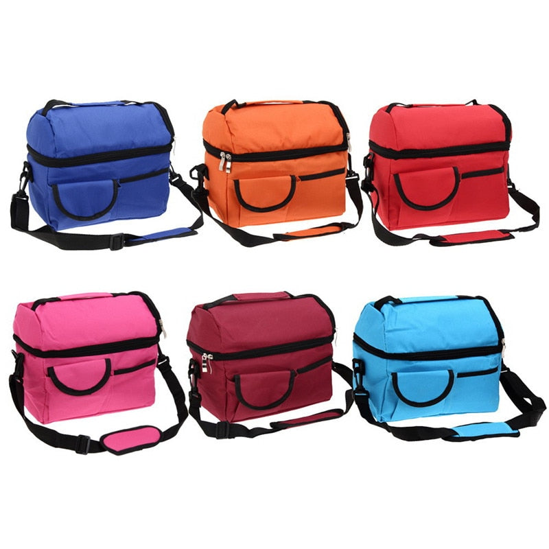 8L Square Canvas Thermal Bag Women Men Lunch Bag Cooler Beam Port