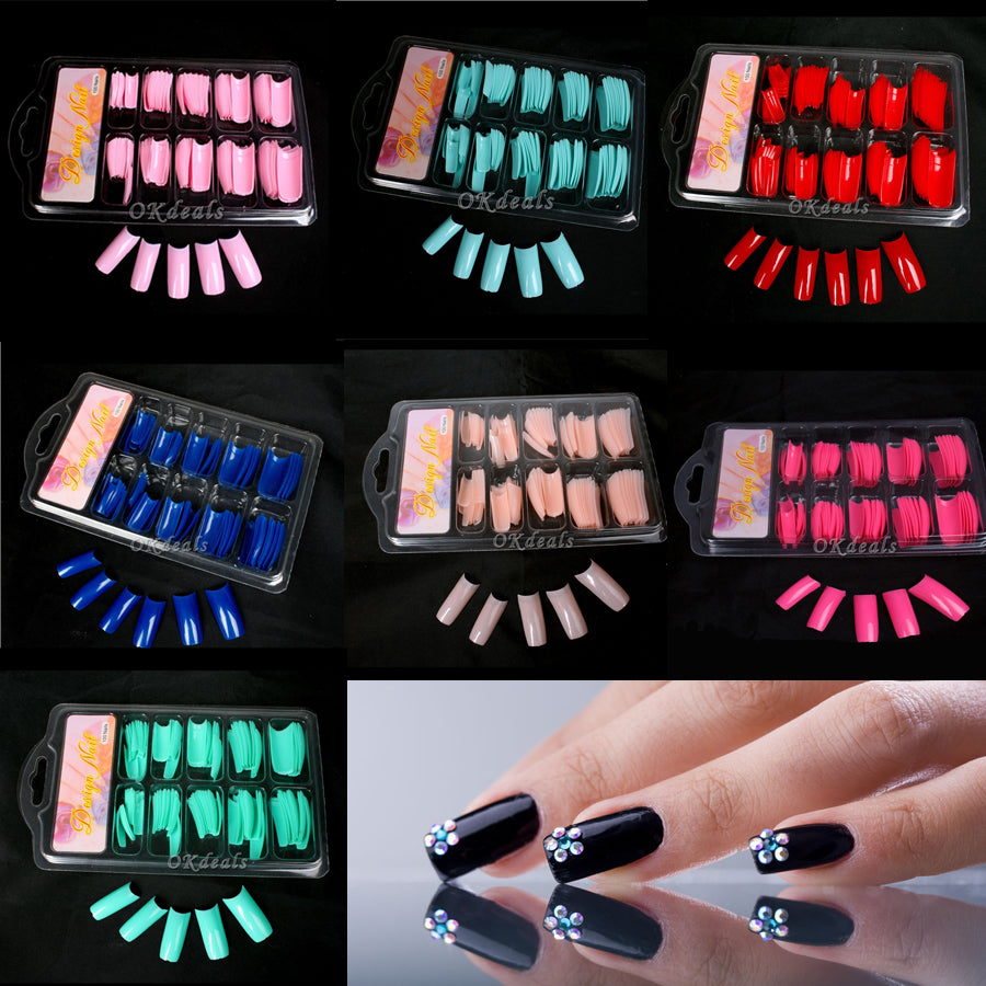 Hot Sale False Fake Acrylic Gel French Nail Art Half Tips Salon Colorful False Nail Tips Makeup Tools p3911Buy mate