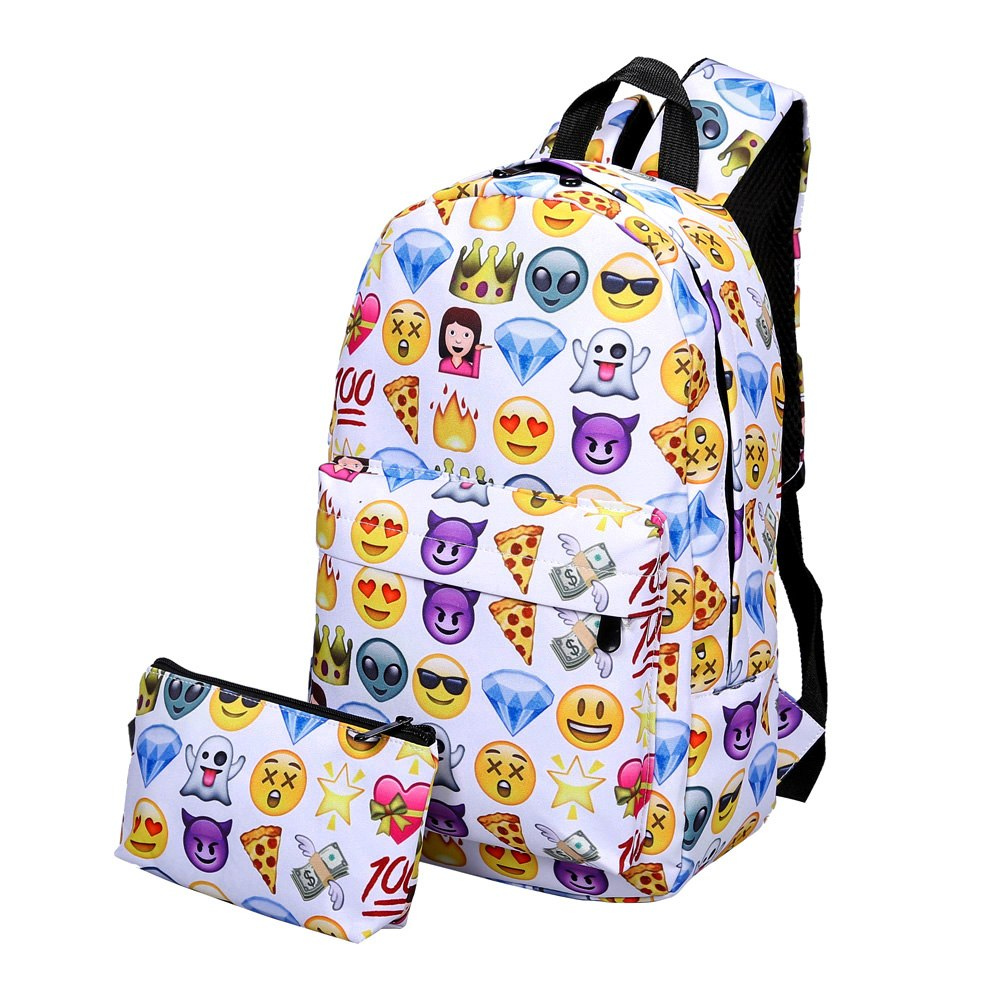 New 2Pcs Outdoor Fasion 3D Printing Nylon Backpack Smiling Face Cute Smile Print p2703