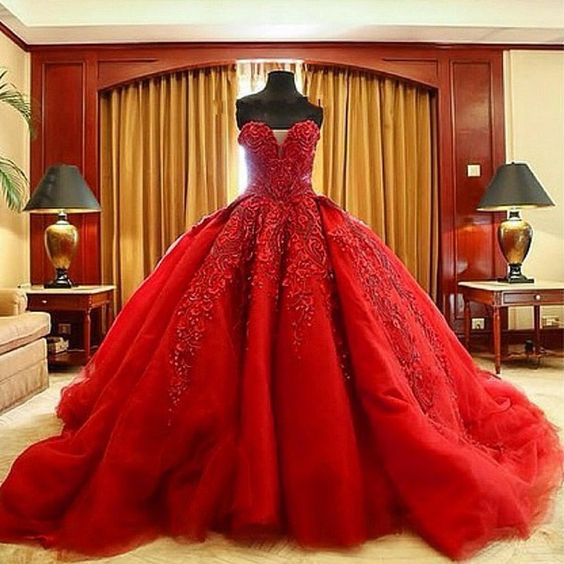 Luxury Ball Gown Debutante Dresses Sleeveless Beaded Sweetheart Neck Cathedral Train Quinceanera Dress P3215Buy mate