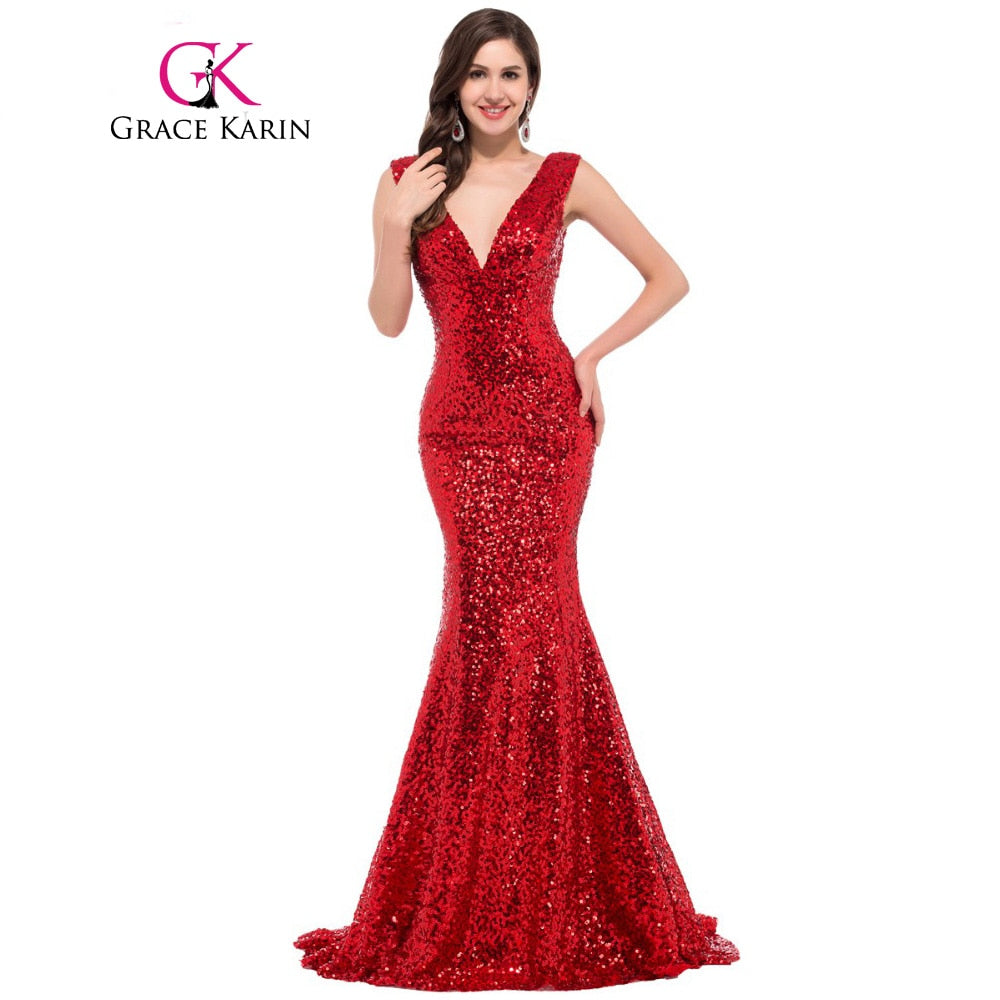 Mermaid Evening Dress 2017 Deep V Celebrity Vestidos Formal Golden Red Black Blue Sequins Special Occasion Dresses p3087