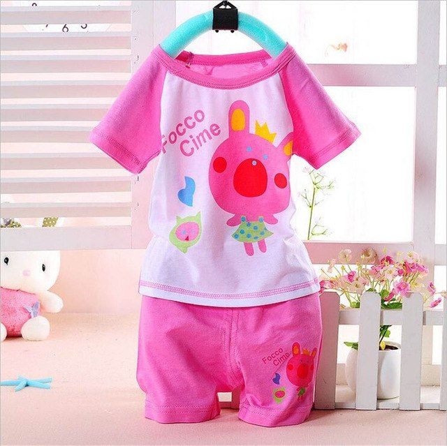 100% Cotton Baby Boys Girls Clothing Set Children Shirt + Pants