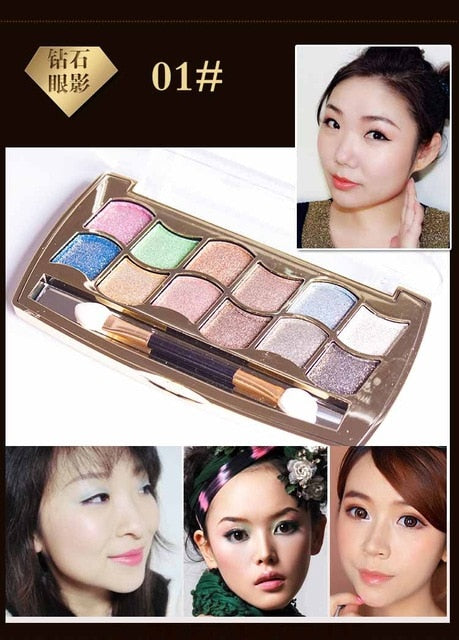 Eyeshadow Palette Gold Smoky Cosmetics Makeup Palette Diamond Bright Glitter Eye Shadow P33961Buy mate