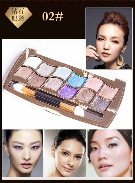 Eyeshadow Palette Gold Smoky Cosmetics Makeup Palette Diamond Bright Glitter Eye Shadow P33962Buy mate