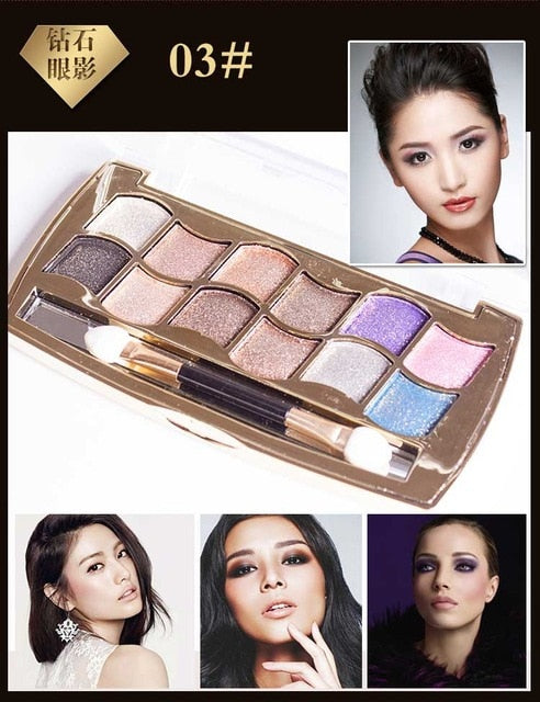 Eyeshadow Palette Gold Smoky Cosmetics Makeup Palette Diamond Bright Glitter Eye Shadow P33963Buy mate
