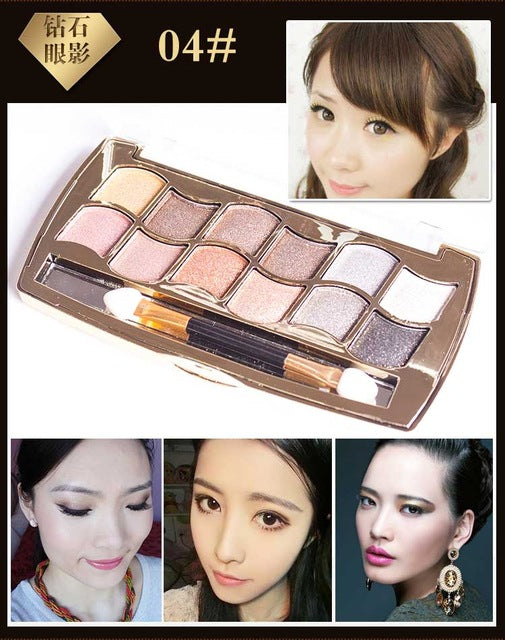 Eyeshadow Palette Gold Smoky Cosmetics Makeup Palette Diamond Bright Glitter Eye Shadow P33964Buy mate