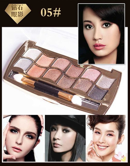 Eyeshadow Palette Gold Smoky Cosmetics Makeup Palette Diamond Bright Glitter Eye Shadow P33965Buy mate