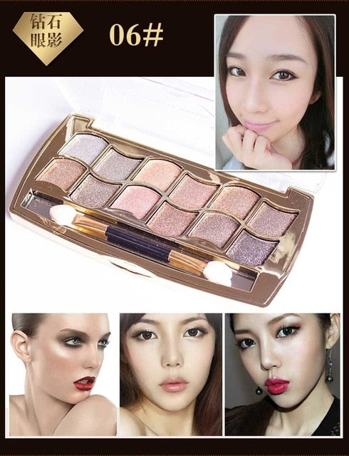Eyeshadow Palette Gold Smoky Cosmetics Makeup Palette Diamond Bright Glitter Eye Shadow P33966Buy mate