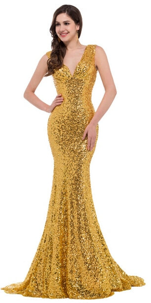 Mermaid Evening Dress 2017 Deep V Celebrity Vestidos Formal Golden Red Black Blue Sequins Special Occasion Dresses p30871 / 16 / ChinaBuy mate