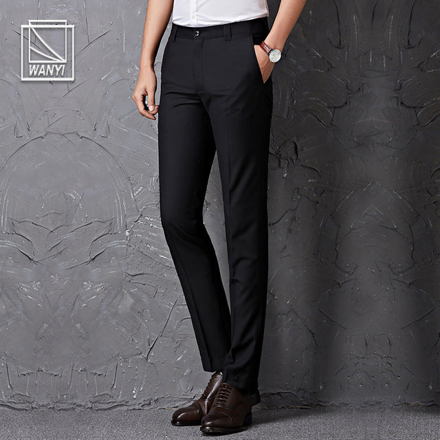 black male suit pants slim fit business trousers brand man spring  clothes p3545US SIZE NO BELT BLAC / 40Buy mate