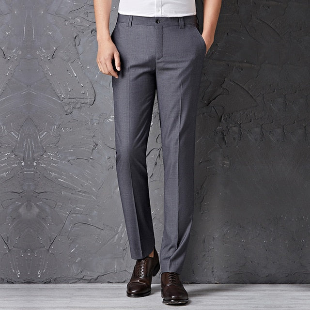 black male suit pants slim fit business trousers brand man spring  clothes p3545US SIZE NO BELT GREY / 30Buy mate